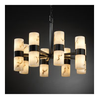 LumenAria 16 Light Matte Black Chandelier Ceiling Light in Cylinder with Flat Rim