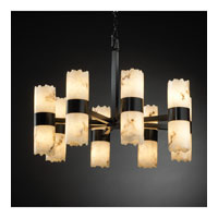 LumenAria 16 Light Matte Black Chandelier Ceiling Light in Cylinder with Broken Rim
