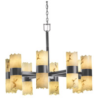 LumenAria 16 Light 32 inch Brushed Nickel Chandelier Ceiling Light in Cylinder with Broken Rim