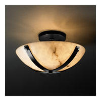 LumenAria 2 Light Matte Black Semi-Flush Bowl Ceiling Light in Round Bowl