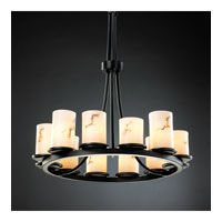 Justice Design FAL-8763-10-MBLK LumenAria 12 Light 28 inch Matte Black Chandelier Ceiling Light in Cylinder with Flat Rim photo thumbnail