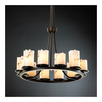 LumenAria 12 Light Dark Bronze Chandelier Ceiling Light in Cylinder with Broken Rim