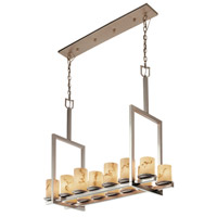 Justice Design LumenAria Dakota 14-Light Bridge Chandelier (Tall) in Brushed Nickel FAL-8764-10-NCKL