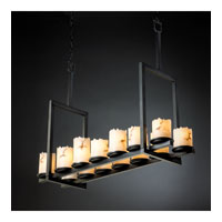 LumenAria 14 Light 42 inch Matte Black Chandelier Ceiling Light in Cylinder with Broken Rim