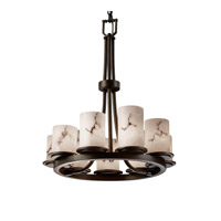 LumenAria 9 Light Dark Bronze Chandelier Ceiling Light in Cylinder with Flat Rim