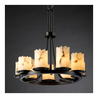 LumenAria 9 Light Matte Black Chandelier Ceiling Light in Cylinder with Broken Rim