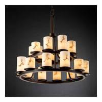 Justice Design LumenAria Dakota 21-Light 2-Tier Ring Chandelier in Dark Bronze FAL-8767-10-DBRZ