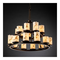 LumenAria 21 Light Dark Bronze Chandelier Ceiling Light in Cylinder with Broken Rim