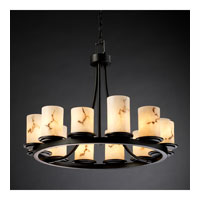 LumenAria 12 Light 28 inch Matte Black Chandelier Ceiling Light in Cylinder with Flat Rim