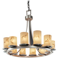 LumenAria 12 Light Brushed Nickel Chandelier Ceiling Light in Cylinder with Flat Rim