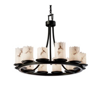 LumenAria 12 Light 28 inch Matte Black Chandelier Ceiling Light in Cylinder with Broken Rim