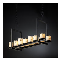 Justice Design LumenAria Dakota 14-Light Bridge Chandelier (Short) in Matte Black FAL-8769-12-MBLK