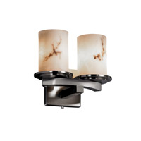 LumenAria 2 Light 11 inch Brushed Nickel Wall Sconce Wall Light in Cylinder with Flat Rim