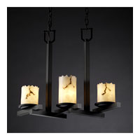LumenAria 3 Light 7 inch Matte Black Chandelier Ceiling Light in Cylinder with Broken Rim