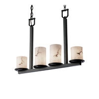 LumenAria 4 Light 5 inch Matte Black Chandelier Ceiling Light in Cylinder with Flat Rim