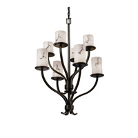 Justice Design FAL-8788-10-DBRZ LumenAria 8 Light 27 inch Dark Bronze Chandelier Ceiling Light in Cylinder with Flat Rim photo thumbnail
