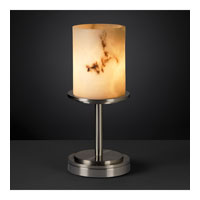 LumenAria 12 inch 60 watt Brushed Nickel Table Lamp Portable Light in Cylinder with Flat Rim