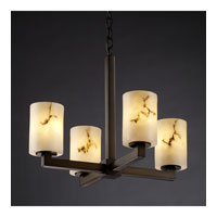 LumenAria 4 Light Dark Bronze Chandelier Ceiling Light in Cylinder with Flat Rim, Fluorescent