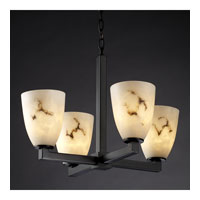 LumenAria 4 Light Matte Black Chandelier Ceiling Light in Tapered Cylinder, Fluorescent