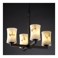 LumenAria 4 Light Dark Bronze Chandelier Ceiling Light in Hourglass, Fluorescent