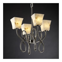 Justice Design LumenAria Capellini 4-Light Chandelier in Brushed Nickel FAL-8910-40-NCKL