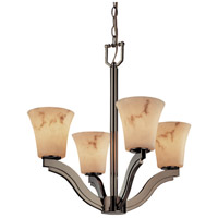 LumenAria 4 Light 22 inch Brushed Nickel Chandelier Ceiling Light in Round Flared, Fluorescent