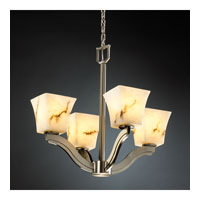 LumenAria 4 Light 22 inch Brushed Nickel Chandelier Ceiling Light in Square Flared, Fluorescent