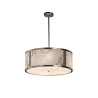 LumenAria Brushed Nickel Drum Pendant Ceiling Light in Fluorescent