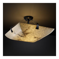 LumenAria 8 Light 51 inch Matte Black Semi-Flush Bowl Ceiling Light in Square Bowl