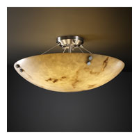LumenAria 3 Light 21 inch Brushed Nickel Semi-Flush Bowl Ceiling Light in Pair of Cylinders, Round Bowl