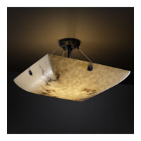 LumenAria 8 Light 39 inch Matte Black Semi-Flush Bowl Ceiling Light in Concentric Circles, Square Bowl