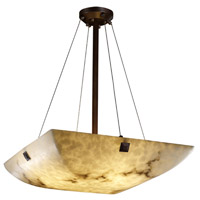 LumenAria 6 Light 27 inch Dark Bronze Pendant Bowl Ceiling Light in Concentric Squares, Square Bowl