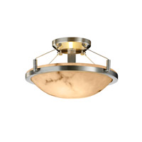 LumenAria 2 Light 21 inch Brushed Nickel Semi-Flush Bowl Ceiling Light in Round Bowl
