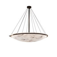 LumenAria Dark Bronze Semi-Flush Bowl with Ring in Fluorescent