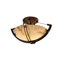 LumenAria 2 Light Dark Bronze Semi-Flush Bowl Ceiling Light in Round Bowl