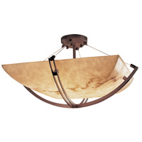 LumenAria 8 Light 42 inch Dark Bronze Semi-Flush Bowl Ceiling Light in Square Bowl