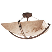 LumenAria 8 Light 55 inch Dark Bronze Semi-Flush Bowl Ceiling Light in Square Bowl