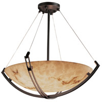 LumenAria 8 Light Dark Bronze Pendant Bowl Ceiling Light in Round Bowl