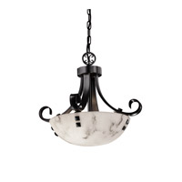 Justice Design FAL-9740-35-MBLK-F3-LED2-2000 LumenAria LED 19 inch Matte Black Pendant Ceiling Light in Pair of Square with Points, Round Bowl, 2000 Lm LED