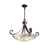 LumenAria 6 Light Dark Bronze Pendant Bowl Ceiling Light in Pair of Cylinders, Round Bowl