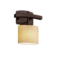 Justice Design FSN-8597-55-FRCR-DBRZ Fusion 1 Light 9 inch Dark Bronze ADA Wall Sconce Wall Light in Rectangle, Incandescent, Frosted Crackle