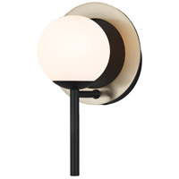 Justice Design FSN-4221-OPAL-MBBR EVOLV LED 6 inch Matte Black with Brass Ring Wall Sconce Wall Light in Incandescent, Matte Black / Brass Ring, Opal Fusion, Halo Family