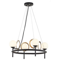 Justice Design FSN-4225-OPAL-MBBR Fusion LED 22 inch Matte Black with Brass Ring Chandelier Ceiling Light Halo Family