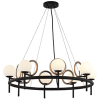 Justice Design FSN-4228-OPAL-MBBR Fusion LED 30 inch Matte Black with Brass Ring Chandelier Ceiling Light Halo Family