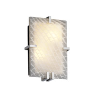 Justice Design FSN-5551-WEVE-CROM Fusion 2 Light 9 inch Polished Chrome ADA Wall Sconce Wall Light in Weave, Incandescent