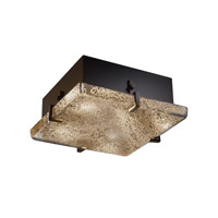 Justice Design FSN-5555-MROR-DBRZ Fusion 2 Light 13 inch Dark Bronze Flush-Mount Ceiling Light in Mercury Glass, Incandescent
