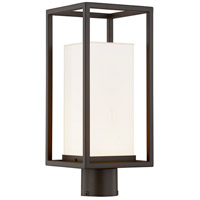 Justice Design FSN-7513W-OPAL-DBRZ Fusion LED 17 inch Dark Bronze Outdoor Post Light, Rectangle