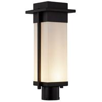 Justice Design FSN-7542W-OPAL-MBLK Fusion LED 18 inch Matte Black Outdoor Post Light Rectangle