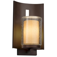 Justice Design FSN-7591W-10-CRML-NCKL Fusion 1 Light 13 inch Outdoor Wall Sconce in Brushed Nickel, Caramel, Incandescent