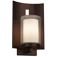 Justice Design FSN-7591W-10-OPAL-DBRZ Fusion 1 Light 13 inch Outdoor Wall Sconce in Dark Bronze Opal Incandescent